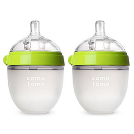 Comotomo 5oz Natural Feel Baby Bottle in Green (Set of 2)