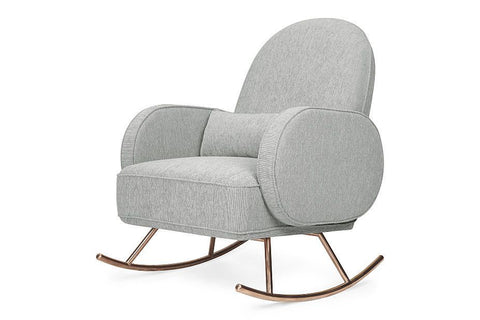 Nursery Works Compass Rocker in  Light Grey Weave with Rose Gold Legs