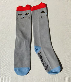Jealous Sister Cat Socks 2pack  in (1Black/White & 1 Grey)