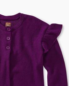 Tea Collection Ruffle Shoulder Cardigan in COSMIC BERRY