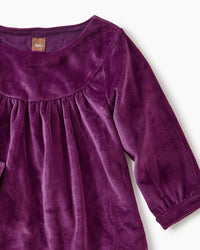 Tea Collection Velour Ruffle Baby Dress Cosmic Berry