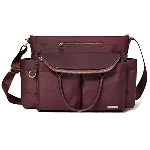 Skip Hop CHELSEA downtown chic satchel in WINE **NEW**