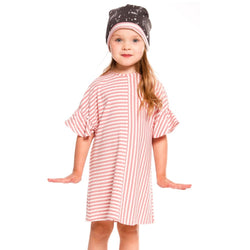 Minimome PINK & WHITE TEXTURED STRIPED DRESS For GIRL