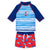 Minimome 2 Pcs Rashguard Swimsuit Fish Print in Galaxy Blue