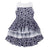Minimome Layered Printed Flowers And Tulle Dress in Navy Flowers Print