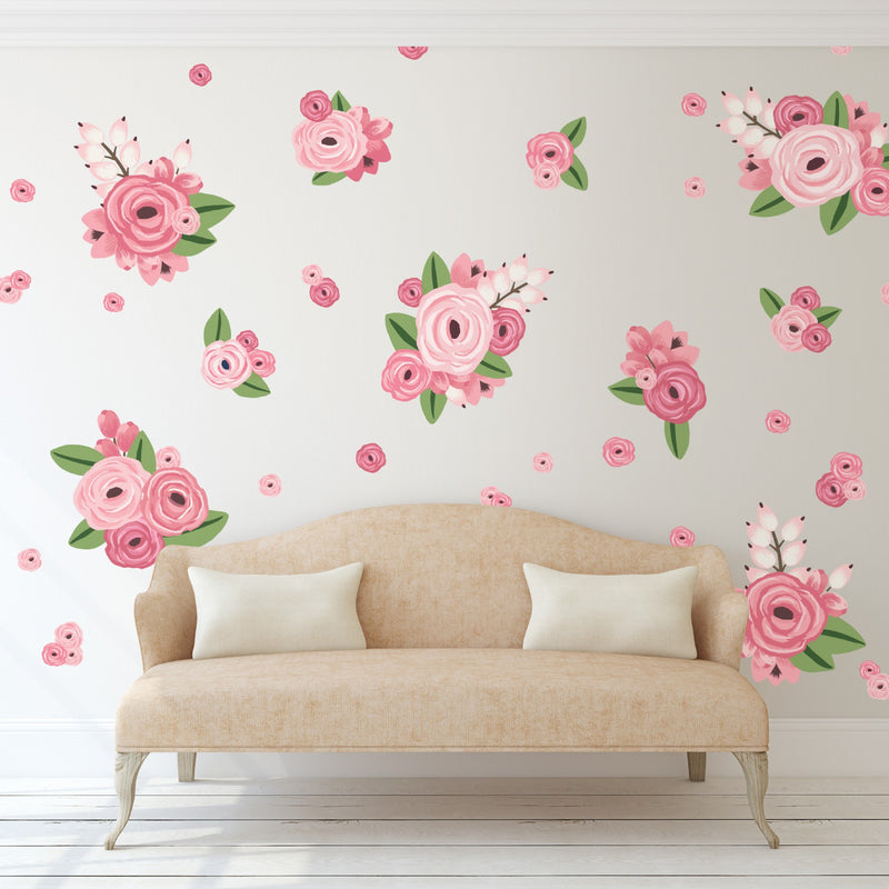 Bright Pink Graphic Flowers Wall Decals