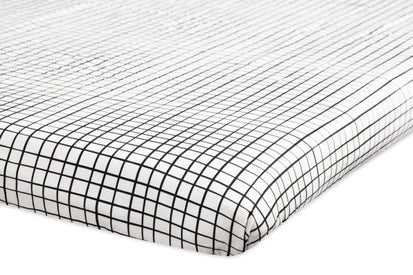 BabyLetto Tuxedo Monochrome Grid Mini Crib Sheet