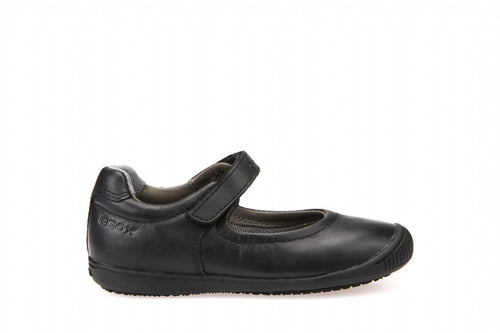 Geox Girls Gioia 2Fit Shoes in Black Leather