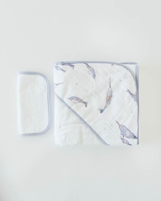 Little Unicorn Cotton Hooded Towel & Wash Cloth in Narwhal