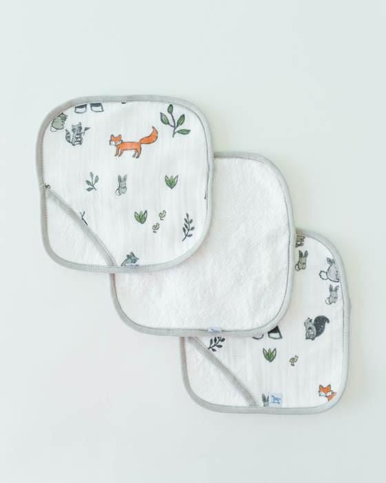 Little Unicorn Cotton Wash Cloth 3 Pack in Forest Friends