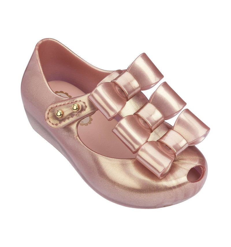 MINI MELISSA ULTRAGIRL TRIPLE BOW BB SHOE IN ROSE GOLD