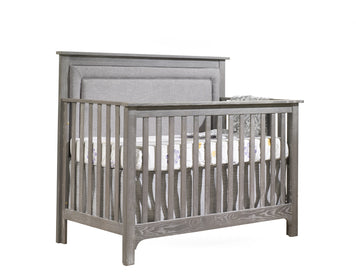 Nest Emerson 5-in-1 Convertible Crib with Upholstered Panel Fog