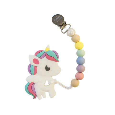 Loulou Lollipop Rainbow Unicorn Teether with holder