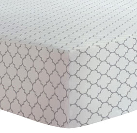 "Kushies 18""x36"" Flannel Fitted Change Pad Sheet in Ornament Lt. Background Grey"