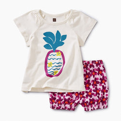 Tea Collection Cheeky Pineapple Baby Outfit in Chalk