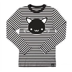 Whistle and Flute Kawaii Cat Striped Longsleeve T-Shirt