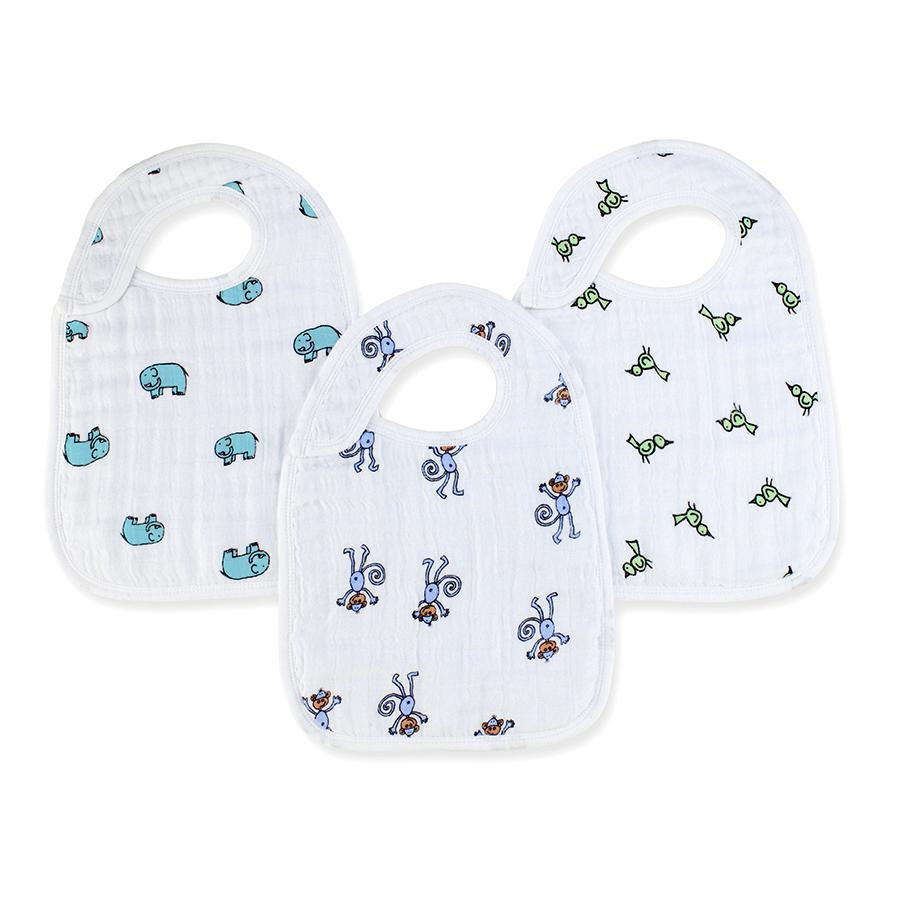 Aden and Anais Nibble Snap Bibs 3-pack in Jungle Jam