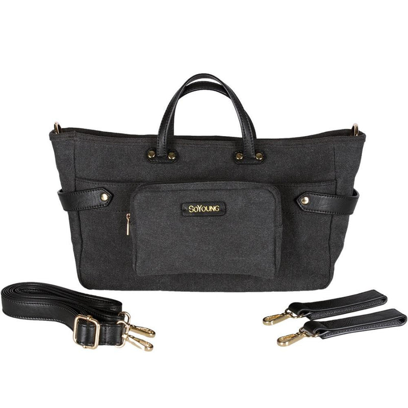 SoYoung Andi 3 In 1  Diaper Bag in Black Canvas with  Black Straps