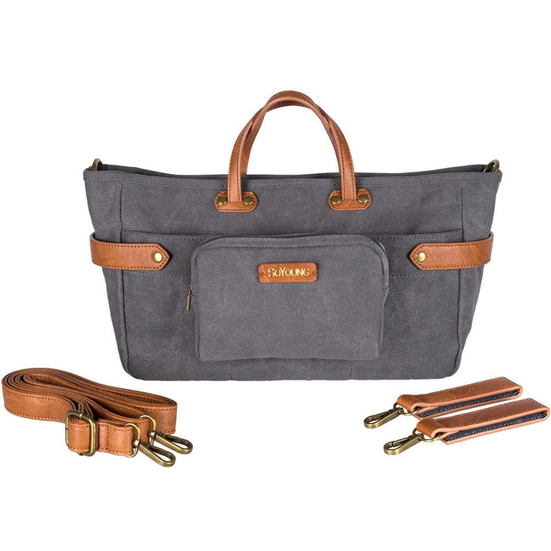SoYoung Andi 3 In 1 Diaper Bag in Waxed Charcoal with Tan Straps