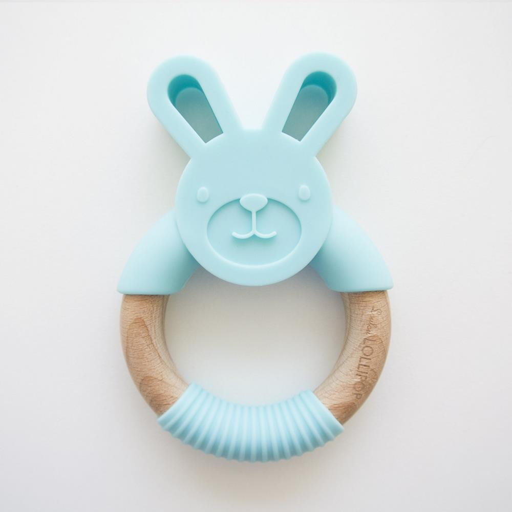 Loulou Lollipop BUNNY SILICONE AND WOOD TEETHER