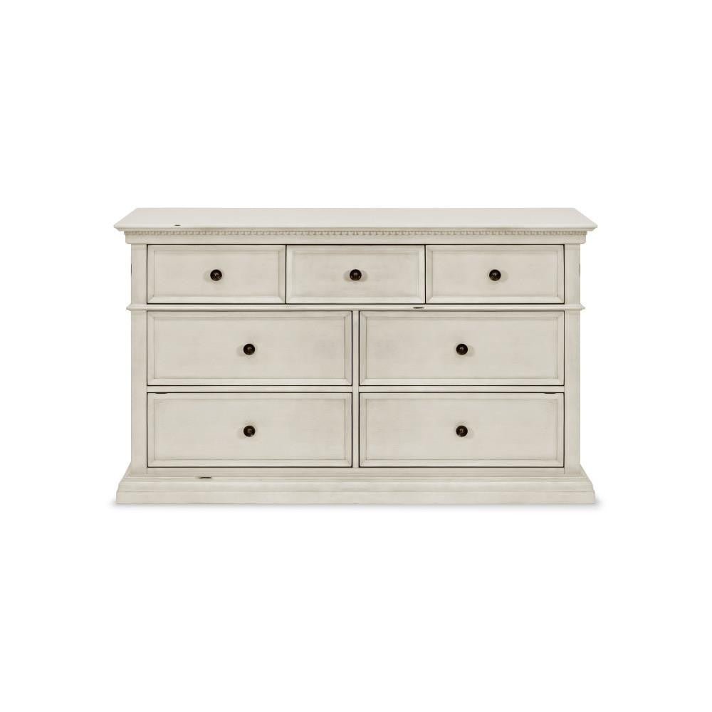 Franklin & Ben Nelson 7 Drawer Double Wide Dresser in Distressed White