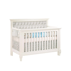 Natart Belmont '5-in-1' Convertible Crib without Rail and with White Tufted Panel