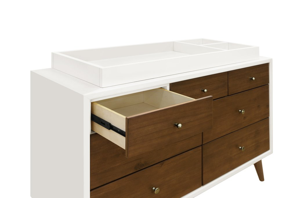 BabyLetto Palma 7-drawer assembled double dresser in White/Natural Walnut without Charging Tray