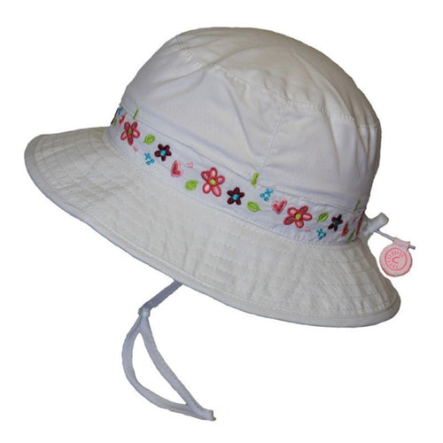 Calikids Girls Vented Quick Dry Hat in White