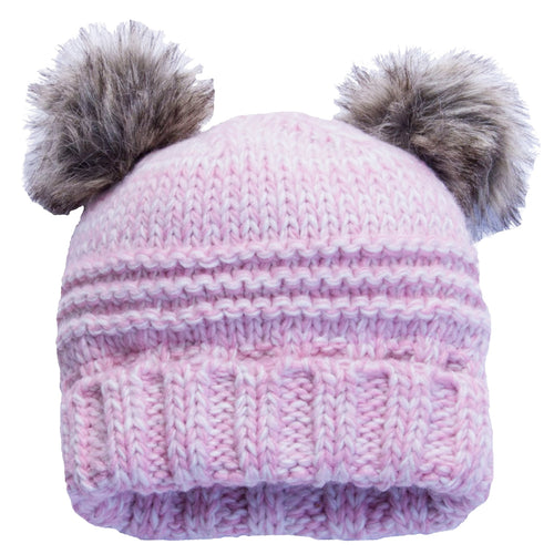 CaliKids Knitted Bear Poms Hat in Pink