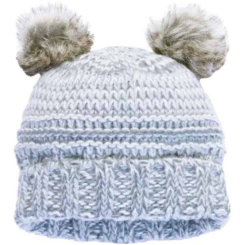 CaliKids Knitted Bear Poms Hat in Grey