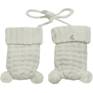 CaliKids Knitted Pom Mittens in White