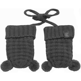 CaliKids Knitted Pom Mittens in Grey