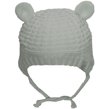 CaliKids Knitted Bear Ears Hat in White