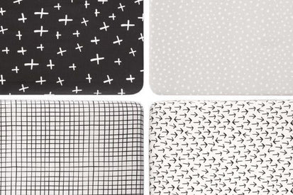 BabyLetto Tuxedo Monochrome Cross Mini Crib Sheet