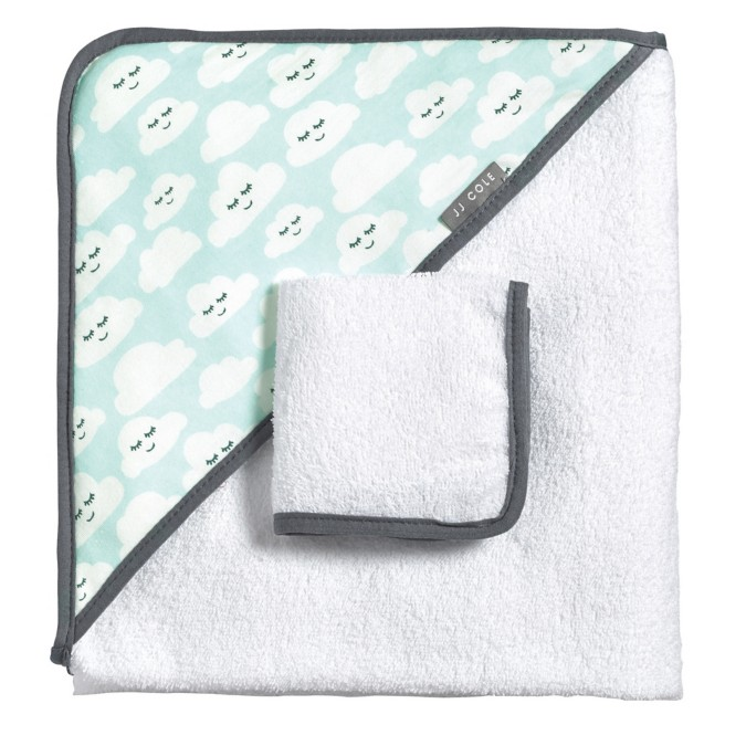 JJ Cole HOODED TOWEL IN CLOUDY SMILES