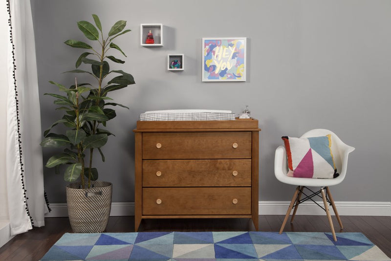 babyletto Sprout 3-Drawer Changer Dresser with Removable Changing Tray in Washed Natural and White