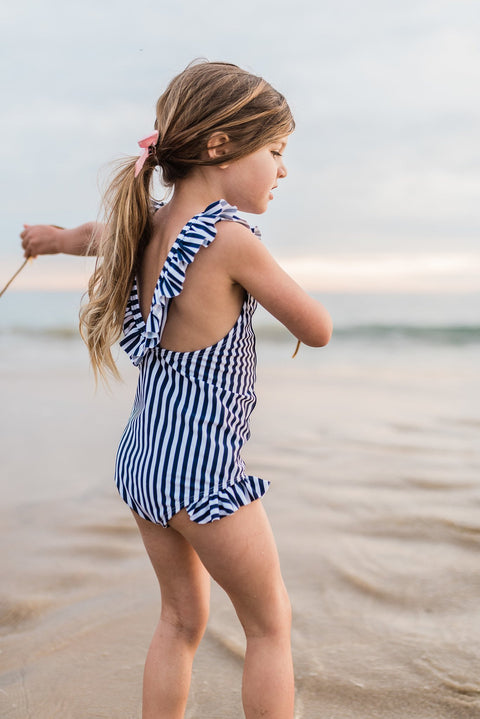 Imagine Perry Ruffle One Piece Striped Swimsuit for Girls