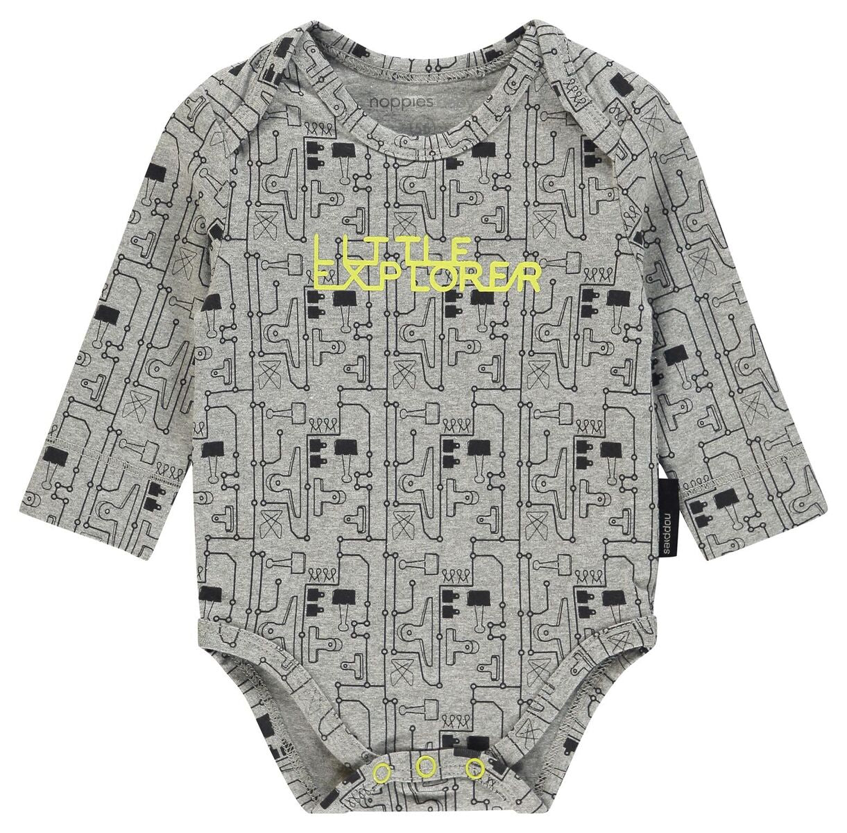 Noppies B Romper ls Walnut aop in Grey Melange
