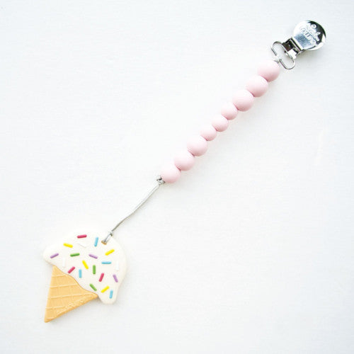 Loulou Lollipop Ice Cream Cone Teether with Holder in Pink
