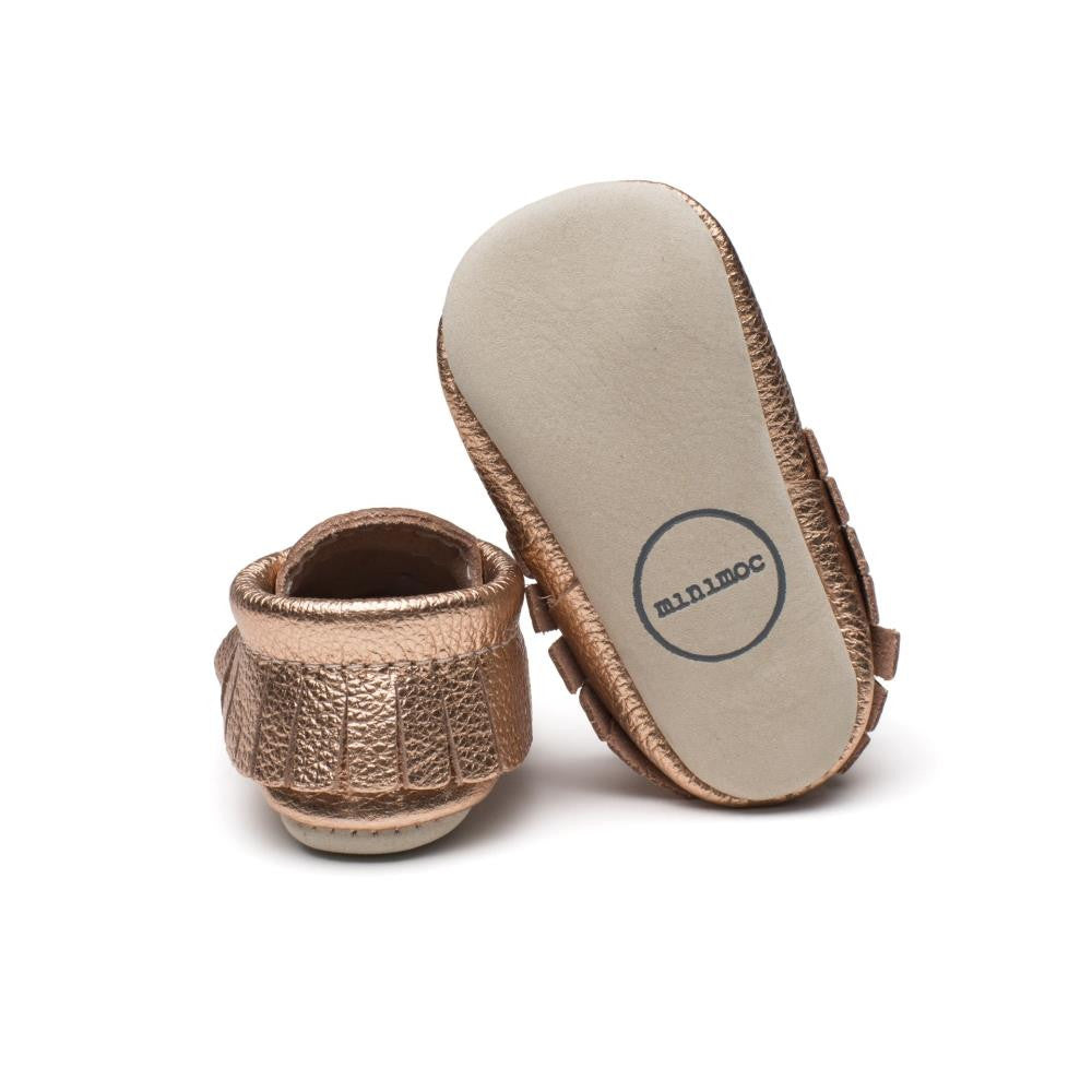 Minimoc Moccasin Shoes in Metallic Rose Gold