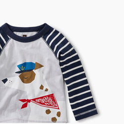 Tea Collection Salty Dog Raglan Graphic Tee in baby boy in Vapor