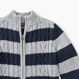 Tea Collection Donegal Stripe Baby Zip in  POP HEATHER GREY