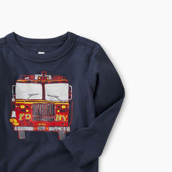 Tea Collection Fire Truck Graphic Tee in Indigo