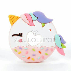 Loulou Lollipop PINK UNICORN DONUT SILICONE TEETHER HOLDER SET - PINK BLUE