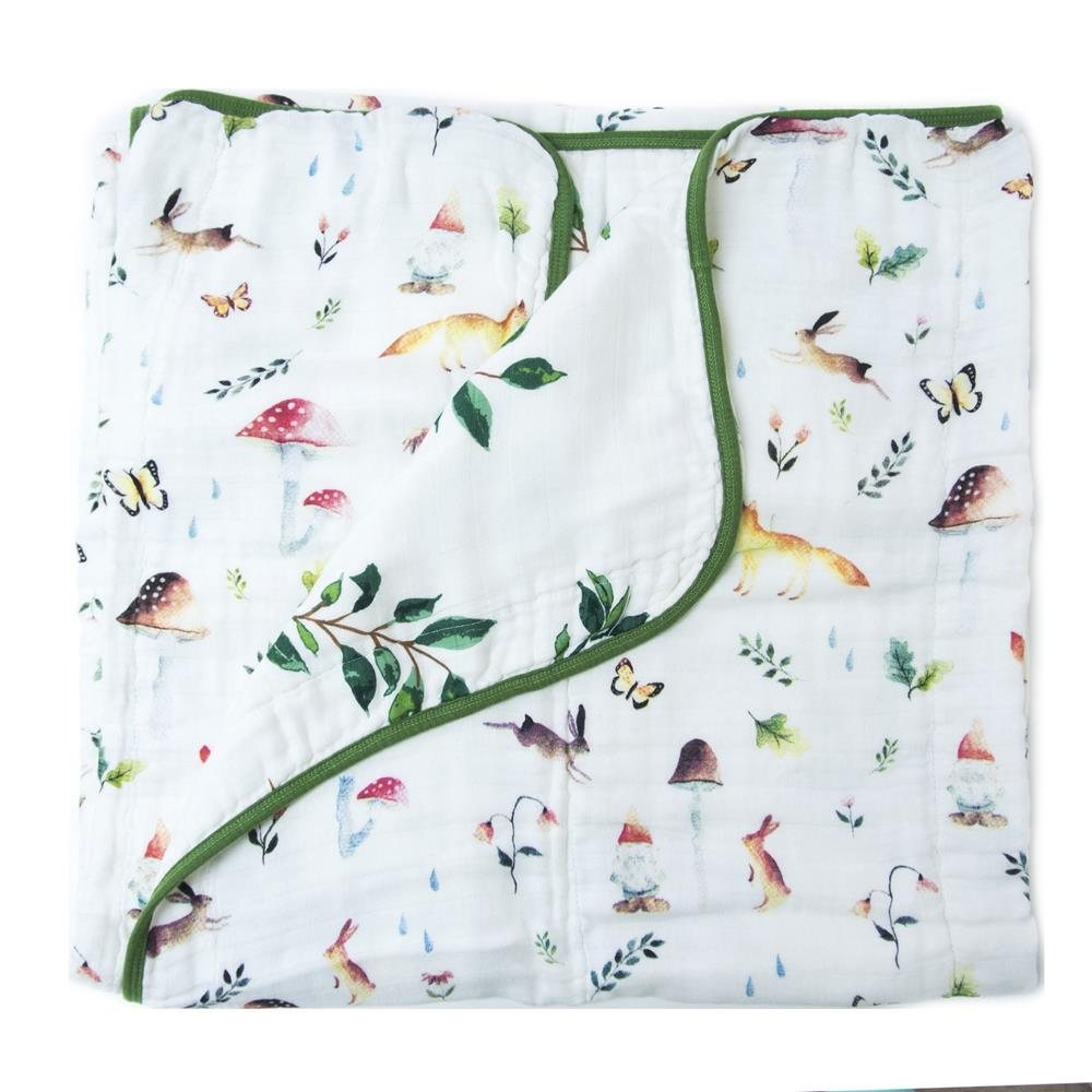 Loulou Lollipop LUXE MUSLIN QUILT BLANKET - WOODLAND GNOME