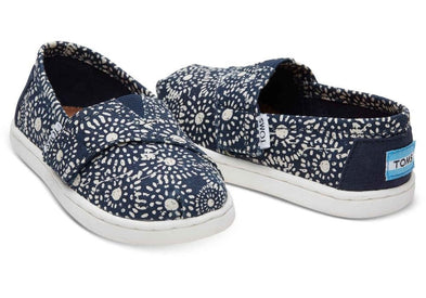 Tiny Toms Classics Shoes in Navy Shibori Dots