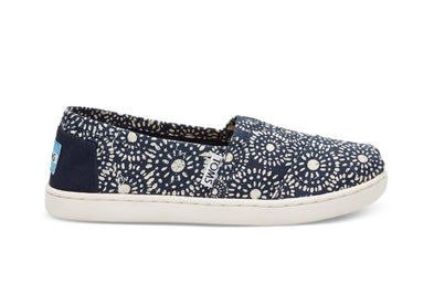 Tiny Toms Youth Classics Shoes in Navy Shibori Dots
