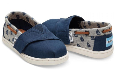 Tiny Toms Bimini Shoes in Navy Canvas and Sailboat