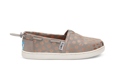 Tiny Toms Bimini Youth Shoes in Drizzle Grey Rose Gold Foil Polka Dot