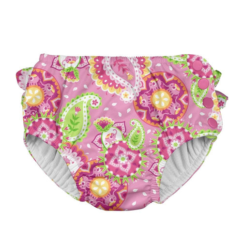 I play Mix & Match Ruffle Snap Reusable Absorbent Swimsuit Diaper in Light Pink Paisley Elephant